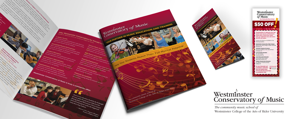 Community music school course catalog and collateral graphic design.