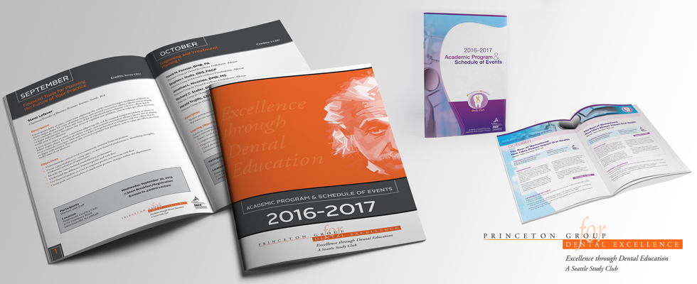 Graphic design and layout for modern academic course brochure.