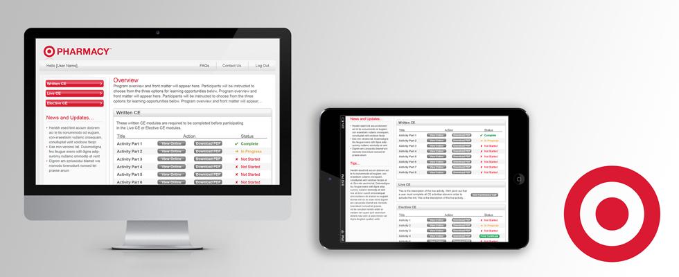Graphic user interface design for Target Pharmacy website portal.