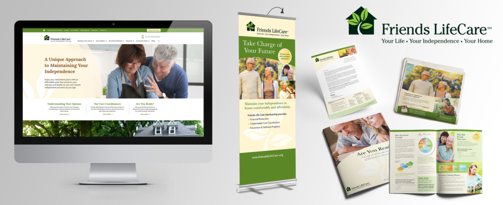 Print collateral and website design for long term care provider in Philadelphia.