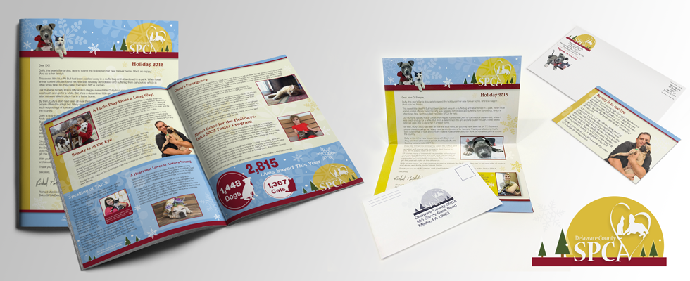 Marketing newsletter design for local animal nonprofit group.