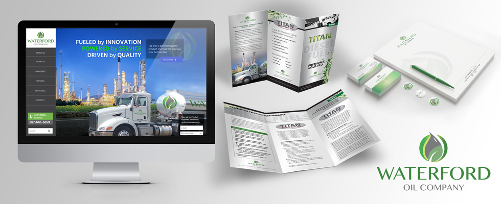 Website, collateral, and logo design for petroleum oil company.
