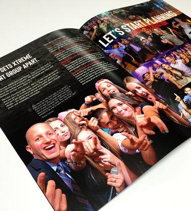 Custom designed brochure booklet for entertainment company in NJ.